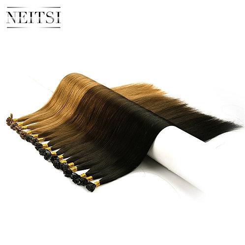 "DoubleRemy Flat Tip Human Hair Extensions 24""-25pcs Straight  Keratin Pre Bonded"