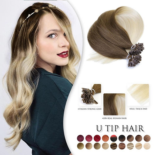 "Straight Ombre Keratin Human Fusion Hair Remy Nail U Tip Extension 20""  50g-150g"