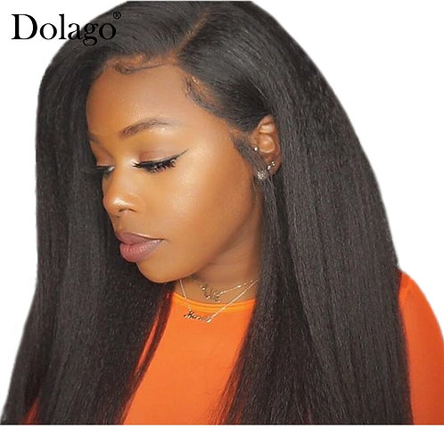 Kinky Straight Hair Lace Closure With Baby Hair Yaki 100% Human Hair Free Part