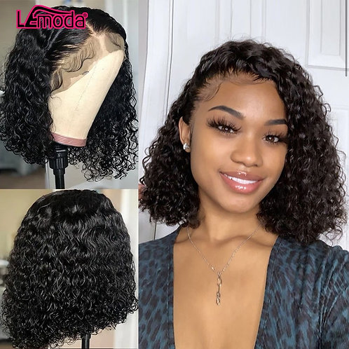 Deep Curly Bob Wigs  Lace Front  W/ Baby Hair Short Lemoda Remy Pre Plucked