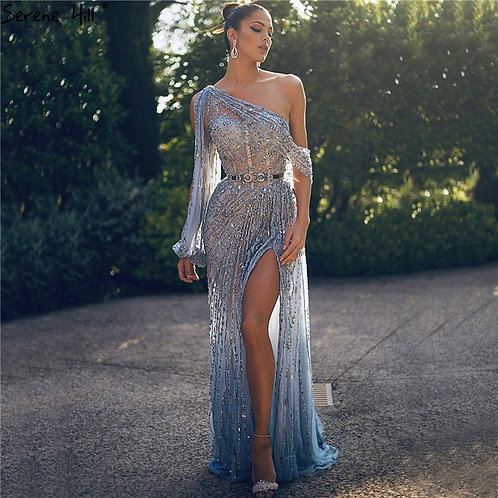 Blue  Dubai One Shouder Sexy Luxury Beading Crystal Sparkle Formal Dress