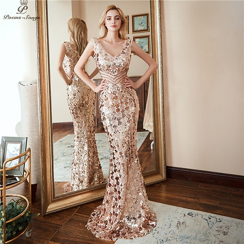 Poems Double V-Neck Evening Dress Formal Luxury Gold Long Sequin Prom Gowns