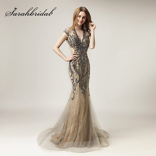 Unique Shining Crystal Celebrity Dress Long V-Neck Gala Party Gowns LX430