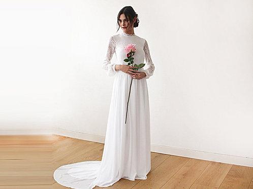 High Neck & Open Back Wedding Dress, Ivory Train Dress With Open Back 1181