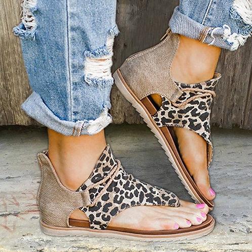 Vintage Women Sandals Leopard Print Summer Shoes Women  Flat Sandals  Zapatos