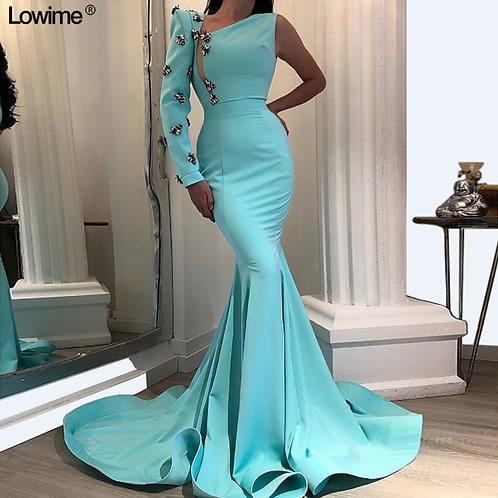 Mint Green Long Sexy Celebrity Dresses One Sleeve Dubai Style Evening Gowns