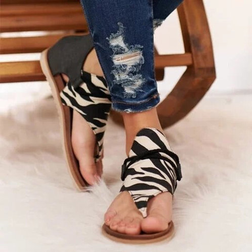 Women Summer Sandals Leopard Print Shoes Plus Size Gladiator Comfy Sandals Flat