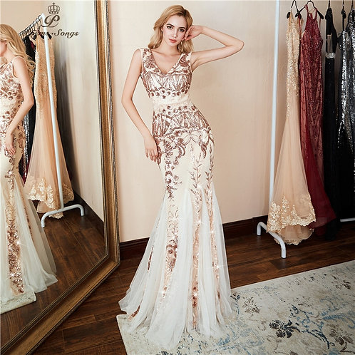 V-Neck Evening Dress Formal Party Luxury Gold Sequin Prom Dress U-Back
