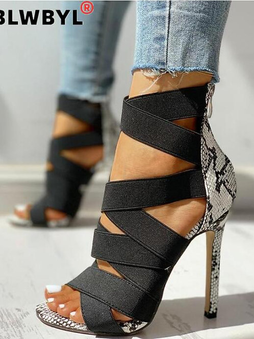 Ladies Pumps Fashion Bandage Patchwork Mixed Colors Snake High Heels Sandals