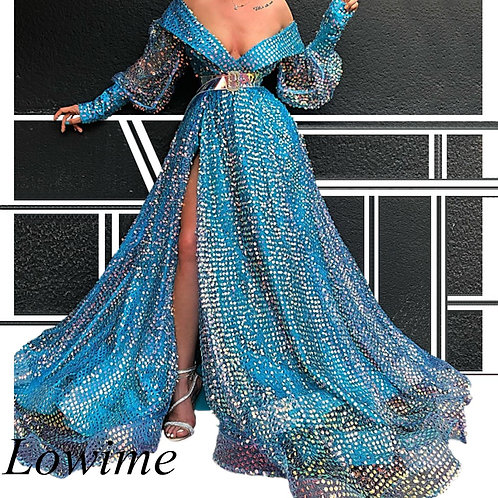 African Style Plus Size Celebrity s Long Sleeves V-Neck Formal Evening Gowns
