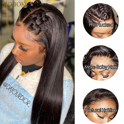 Mobok 13X4 Lace Front Human Hair Wigs Remy 360 Lace Wig