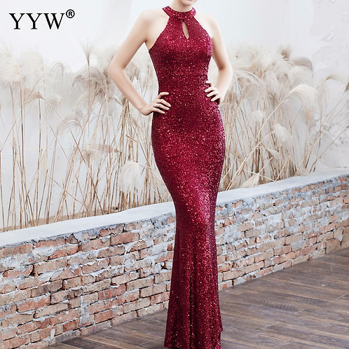 Sequined Party Long Dresses Halter Sleeveless Mermaid Evening Gowns