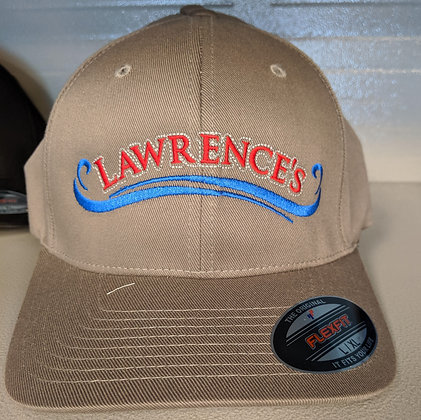 Tan hat with stitched logo