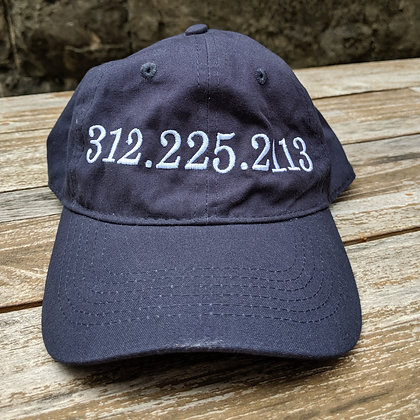 Navy blue hat with stitched phone number