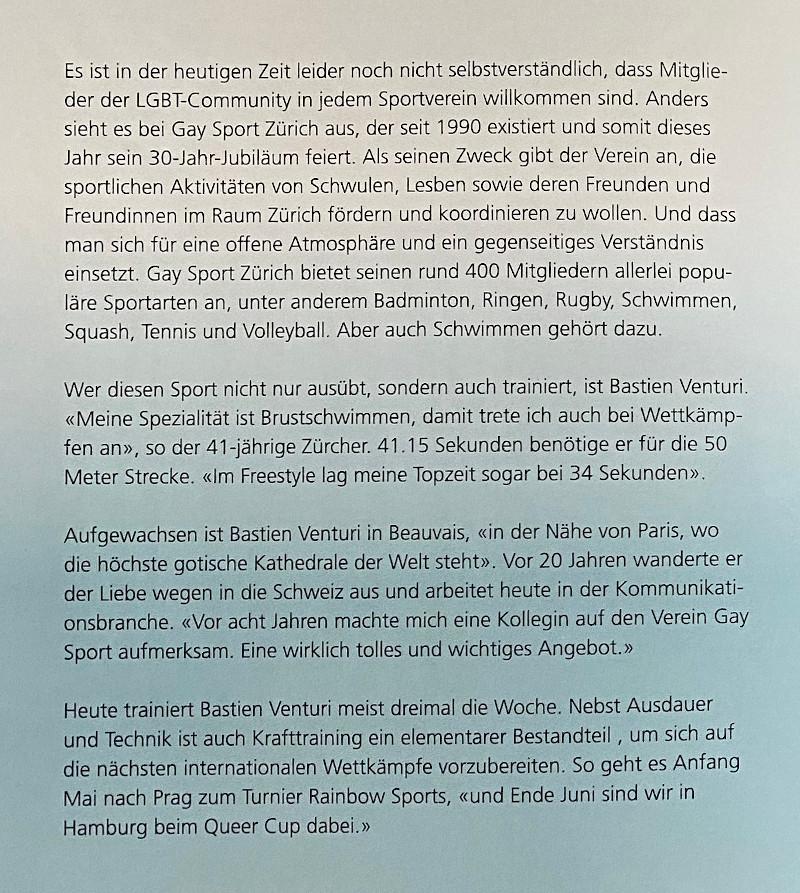 Wir Zürcher - Artikel über Gay Sport, seit Januar 2021 Rainbow Sport und Bastien Venturi.