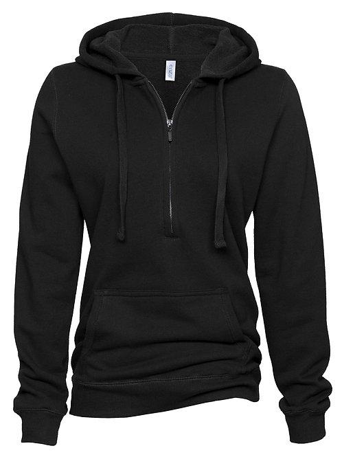 Ladies Quarter Zip Fleece Hood