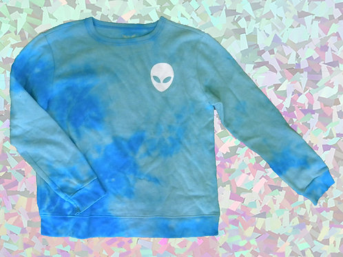UPCYCLED BLEACH DYE ALIEN SWEATER SMALL
