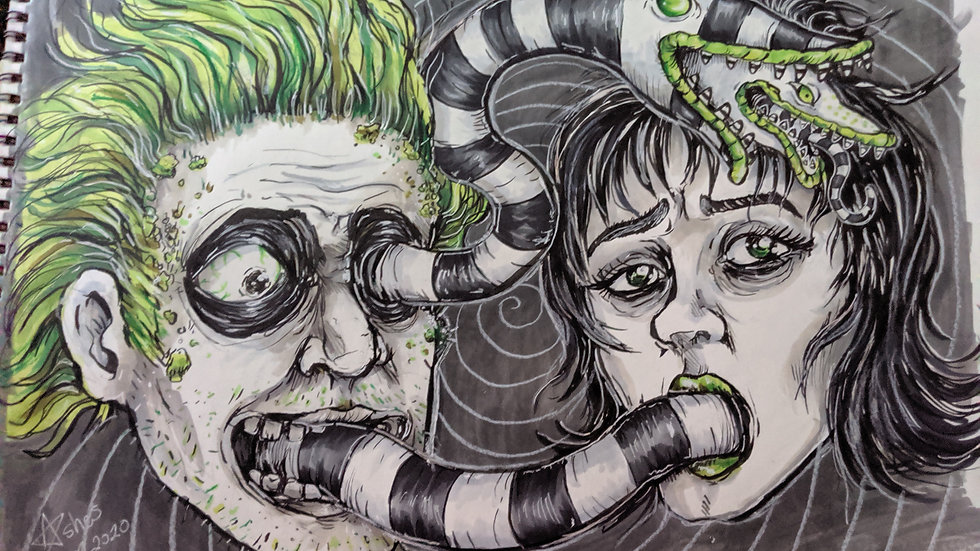 Beetlejuice and Lydia Print PREORDER
