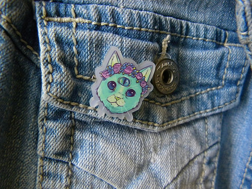 FLOWER CROWN SPACE CAT PIN