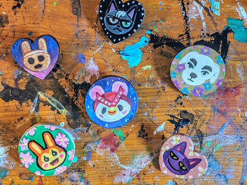ANIMAL CROSSING HAND PAINTED WOODEN PINS