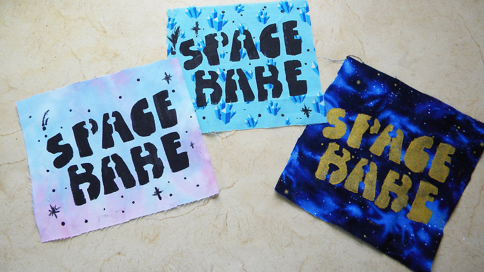 HAND STENCILED SPACE BABE PATCHES