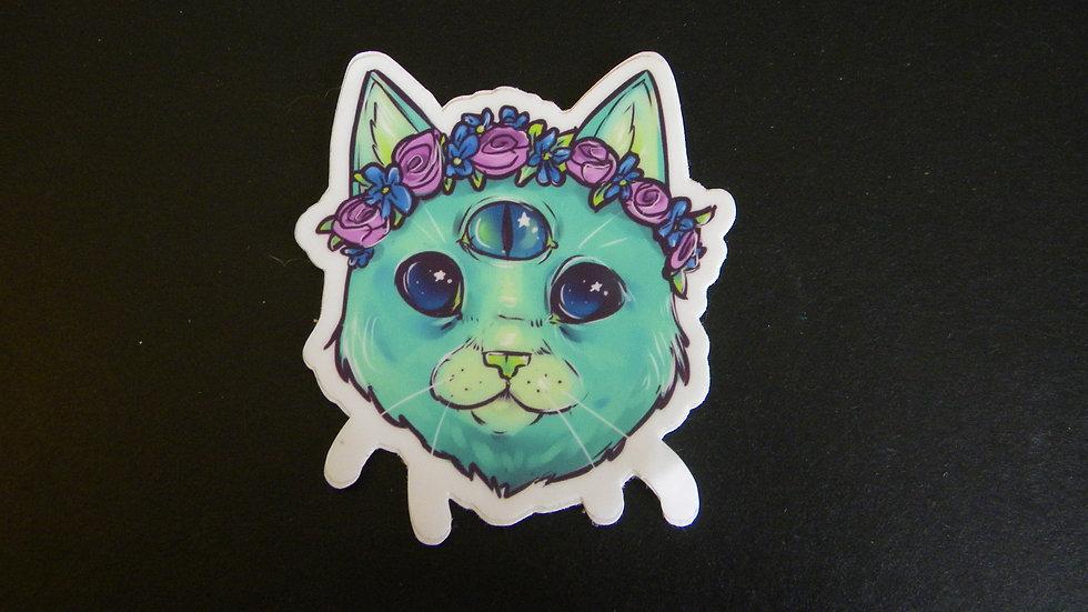 VINYL FLOWER CROWN SPACE CAT STICKER