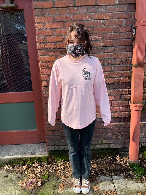 Pink Oversized Jersey Style Crew Neck