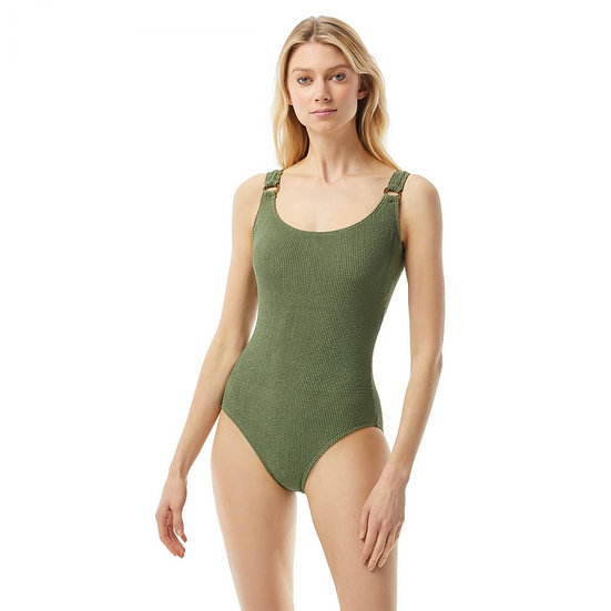 MICHAEL KORS - Army Green Textured Underwire Scoop One Piece - MM1W277