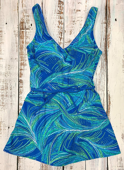 SEA WAVES - V-Neck Skirted Suit - STYLE 2000