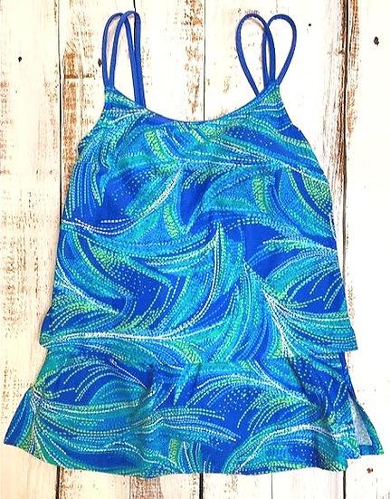 SEA WAVES - Tankini Set w/ Printed Skirt Bottom - STYLE 5000
