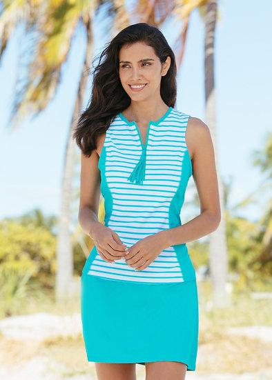 SALE Cabana Life Turquoise Stripe Sleeveless Rashguard 713DTE