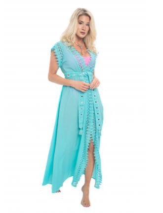 Pranella Effie Long Kimono Aqua EFFIEKIM