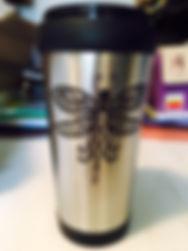 Dragonfly etched travel mug