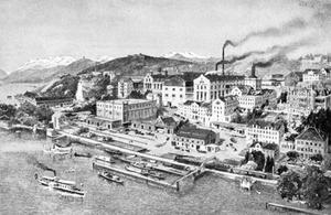 Blick auf die Produktionsgebäude der Brauerei Wädenswil im Giessen in Wädenswil