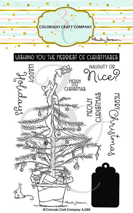 AJ389 Anita Jeram~Christmas Tree Cat