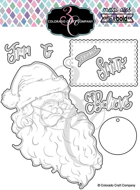 BB356-D Big & Bold Vintage Santa Dies