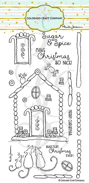 AJ526 Anita Jeram ~ Gingerbread House Slimline