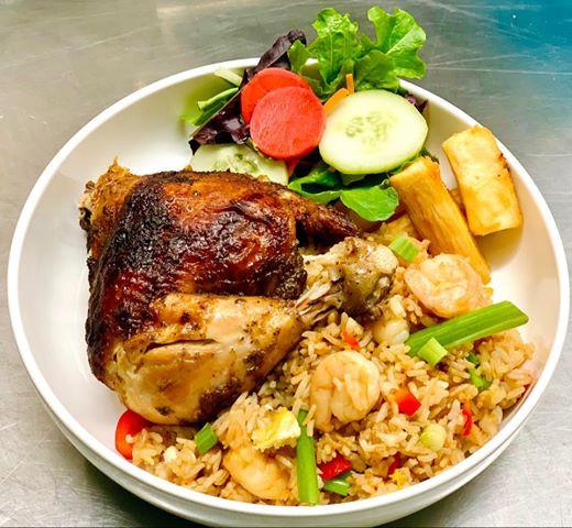 Quarter Chicken with Shrimp Fried rice.