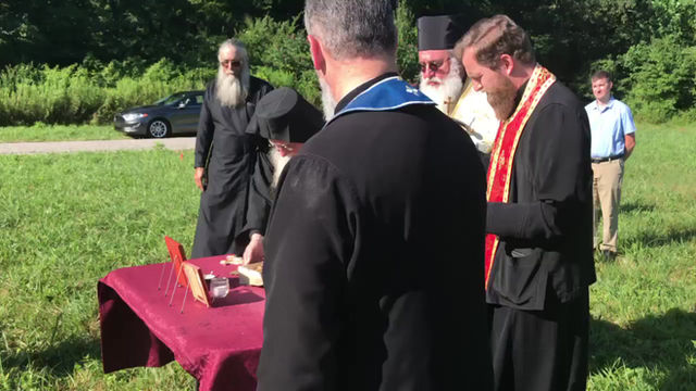 Abbot Mark Places the Foundation Stone