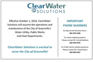 ClearWater Solutions to assume the operations and maintenance of the City of Greenville's Water Util