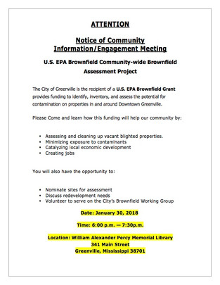 ATTENTION  Notice of Community Information/Engagement Meeting U.S. EPA Brownfield Community-wide Bro