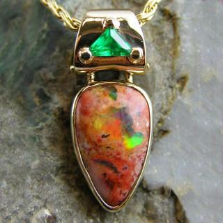 Mexican Opal and Tsavorite Garnet pendant