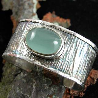 Aquamarine Cabachon Cuff bracelet