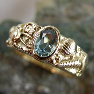 Aquamarine Seashell ring