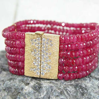 Ruby bracelet with Gold Clasp