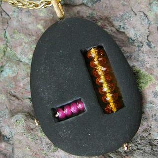 Basalt and Gemstone pendant