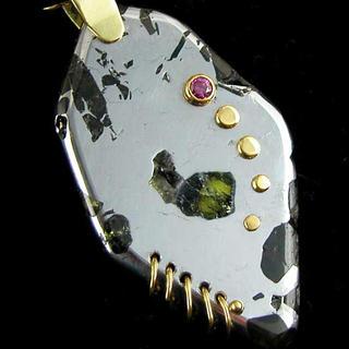 Meteorite and Red Diamond pendant