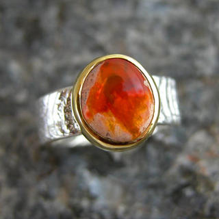 Mexican Opal Cuttlefish-cast ring