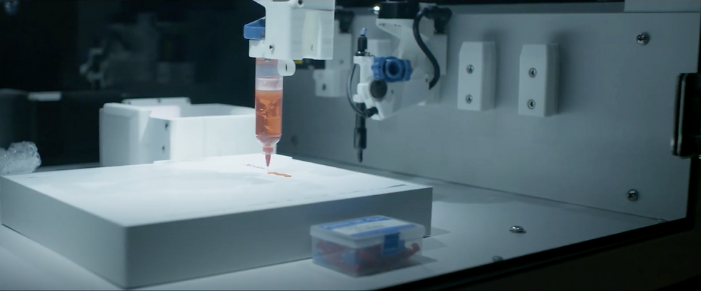 BioAssemblyBot 3D bioprinting pluronic hydrogel with ambient dispense tool