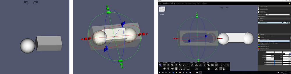 Left panel: De novo structure creation through shapes and Boolean operations.  Center panel: Mold tool is used to create a mold of the structure. Right panel: Molding process in TSIM.